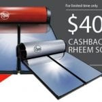 rheem solar hot water cash back offer