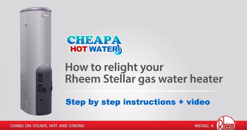 rheem gas water heater. if the pilot flame in your rheem stellar gas water heater has gone out? read our simple step by instructions below on how to relight light.