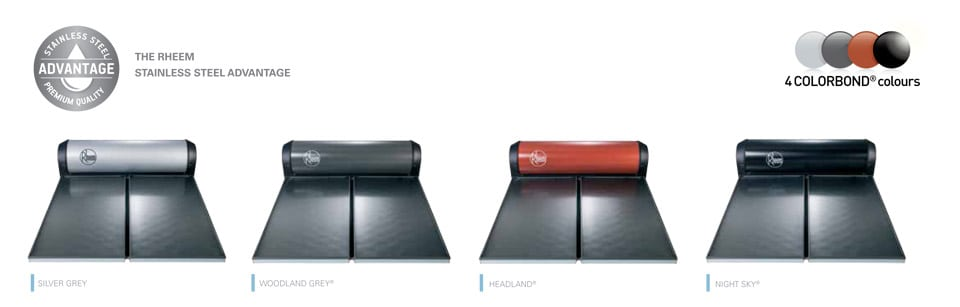rheem solar water heater colorbond colour range