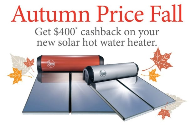 solar hot water cashback offer