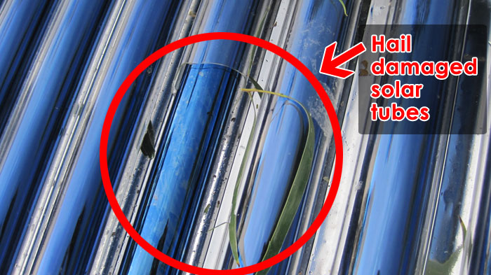 hail damaged solar hot water tubes